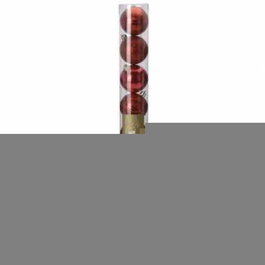 Classic red kerstversiering plastic rode ballen set 9 stuks