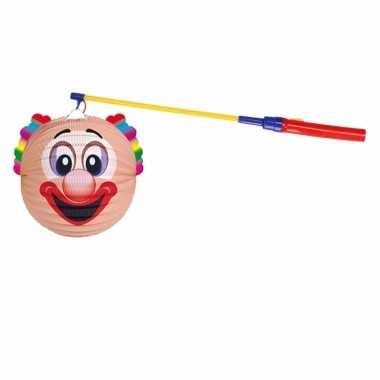 Clown lampion 22 cm met lampionstokje