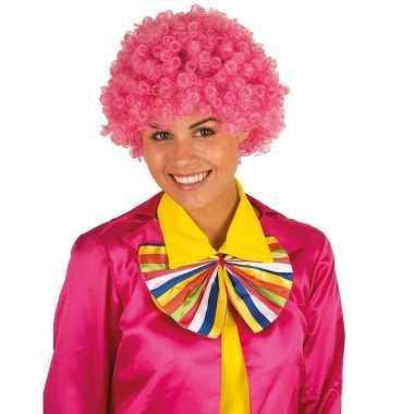 Clownspruik met roze krulletjes verkleed accessoire