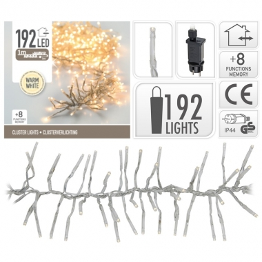 Clusterverlichting warm wit buiten 192 lampjes