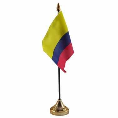 Colombia tafelvlaggetje 10 x 15 cm met standaard