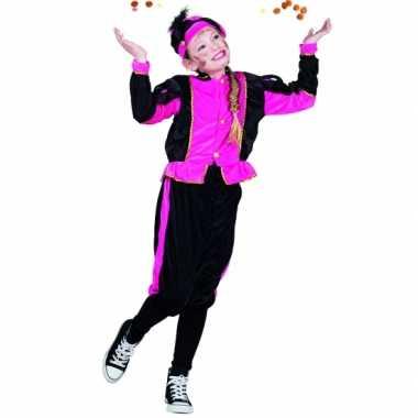 Compleet fuchsia pieten kostuum voor meisjes