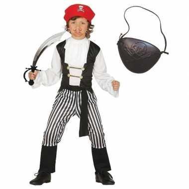 Compleet piraten kostuum maat 128-134 voor kinderen