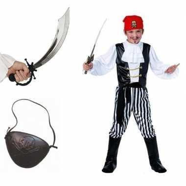 Compleet piraten kostuum maat l voor kids