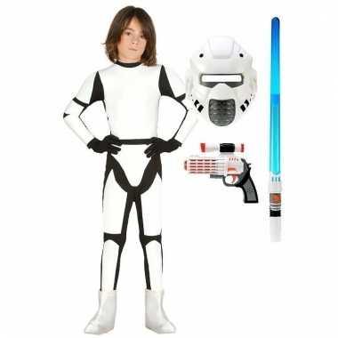 Compleet space trooper kostuum maat 110-116 voor kinderen