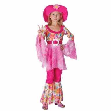 Complete roze hippie outfit voor meiden