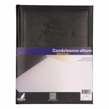 Condoleance album zwart 26 x 21 cm