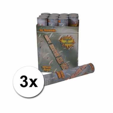 Confetti kanonnen 30 cm zilver 3x