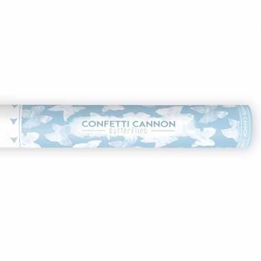 Confetti shooters witte vlinders 40 cm