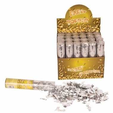 Confetti shooters zilver 20 cm