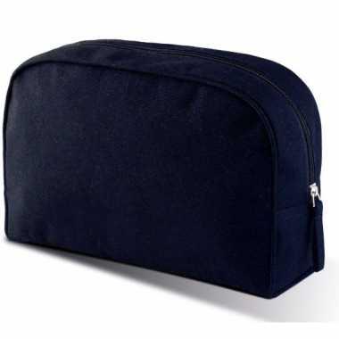 Cosmetica tasje navy blauw 28 cm