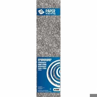 Crepe alu papier glitter zilver 150 x 50 cm knutsel materiaal