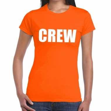 Crew tekst t-shirt oranje dames