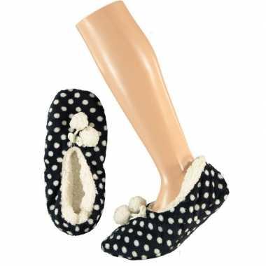 Dames ballerina pantoffels/sloffen stippen navy maat 40-42