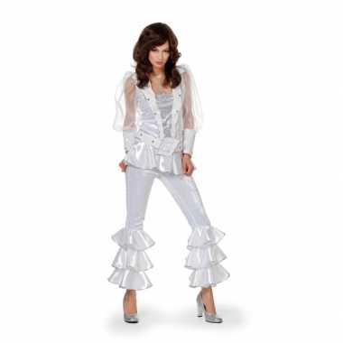Dames disco kostuum wit/zilver