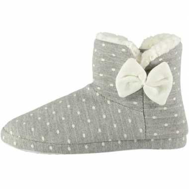 Dames hoge pantoffels/sloffen stippen grijs maat 37-38