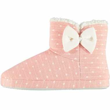 Dames hoge pantoffels/sloffen stippen roze maat 37-38