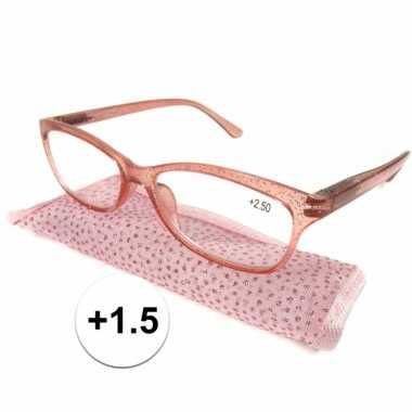 Dames leesbril +1.5 roze met glitters