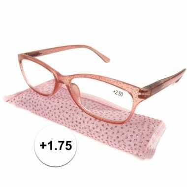 Dames leesbril +1.75 roze met glitters