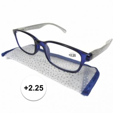 Dames leesbril +2.25 blauw met zilver