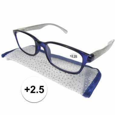 Dames leesbril +2.5 blauw met zilver