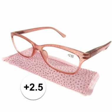 Dames leesbril +2.5 roze met glitters