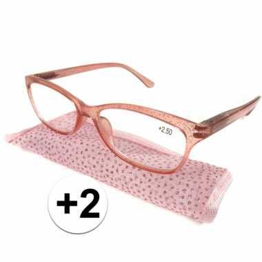 Dames leesbril +2 roze met glitters