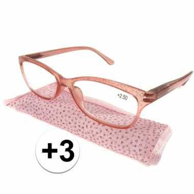 Dames leesbril +3 roze met glitters