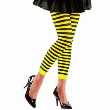 Dames legging geel met zwart
