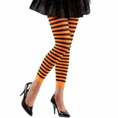 Dames legging oranje met zwart