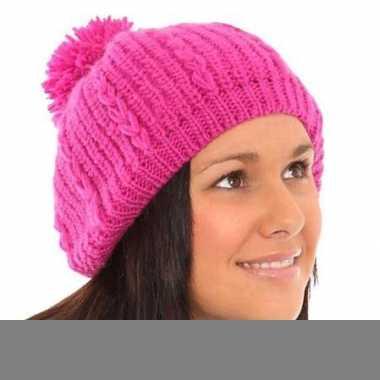 Dames muts roze baret met pompon