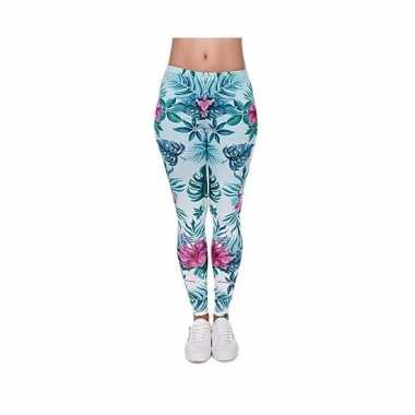 Dames party legging hawaii bloemen print