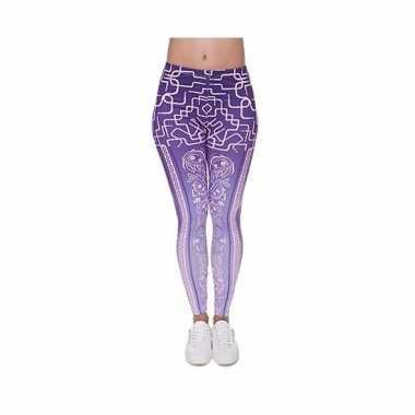 Dames party legging modieuze paarse print