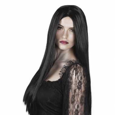 Dames pruik lang zwart stijl haar