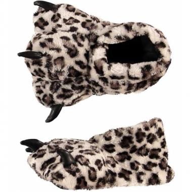 Dames sloffen luipaard poot