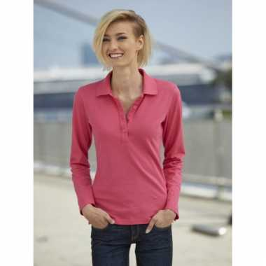 Dames stretch polo roze lange mouw trend