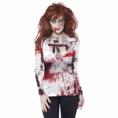 Dames verkleedshirt bloederige zombie