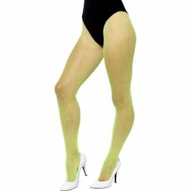 Dames visnet panty in het neon groen