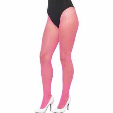 Dames visnet panty in het neon roze