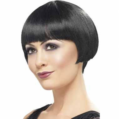 Damespruik zwart kort haar