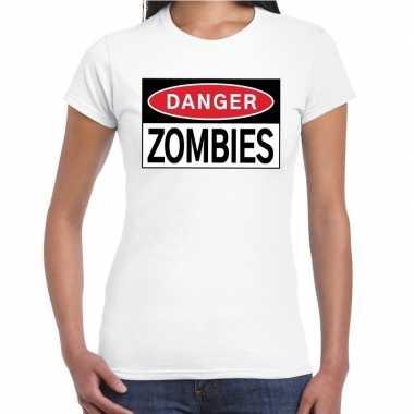 Danger zombies t-shirt wit voor dames
