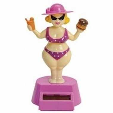 Dansende roze dikke dame beeldje solar figuur
