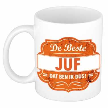De beste juf cadeau koffiemok / theebeker oranje embleem 300 ml