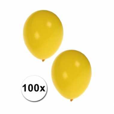 Decoratie ballonnen geel 100 stuks