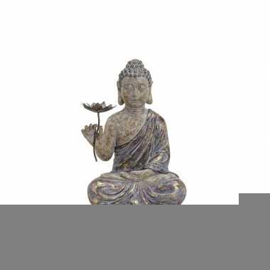 Decoratie beeld boeddha met bloem 48 cm