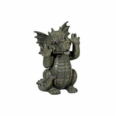 Decoratie beeld draak gekke bek26 cm