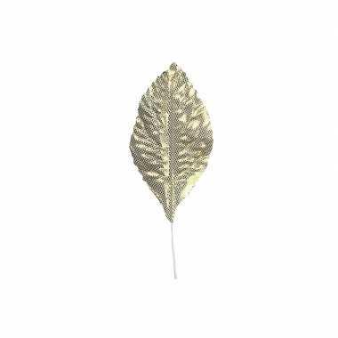 Decoratie bladeren goud 12 stuks