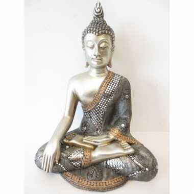 Decoratie boeddha beeld zilver 34 cm