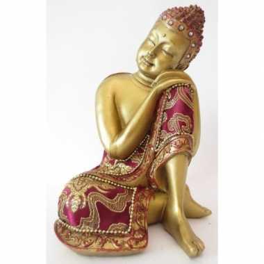 Decoratie boeddha beeldje goud 19 cm