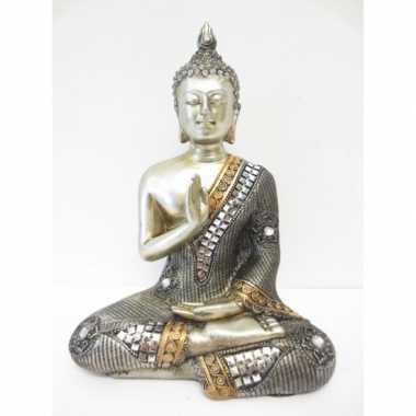 Decoratie boeddha beeldje zilver 17 cm